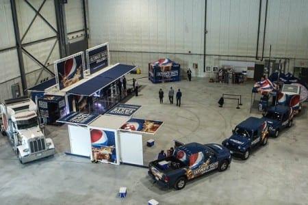 Set-up for a Pepsi mobile exhibit tour