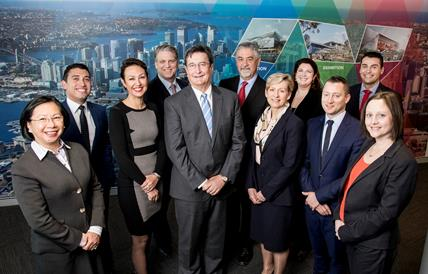 CEO Geoff Donaghy surrounded by the rest of the ICC Sydney leadership team.