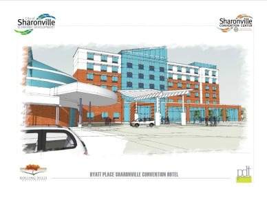 A rendering of the upcoming convention hotel.