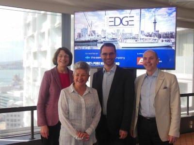 Jan Tonkin, Mathias Posch, and Michel Neijmann with Leonie Ashford, International Bid Manager for Tourism New Zealand Business Events.