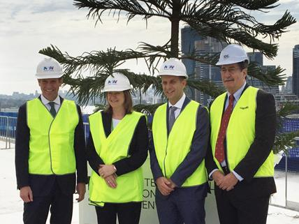 Premier Mike Baird, Minister Andrew Constance, Lyn Lewis-Smith and Geoff Donaghy