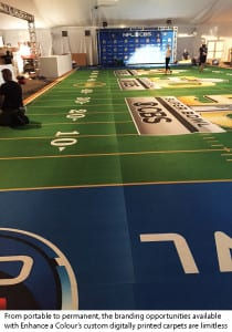 ECN 092015_NTL_Custom carpet creators help transform the show floor_enhance a colour - cbs football event carpetwcap