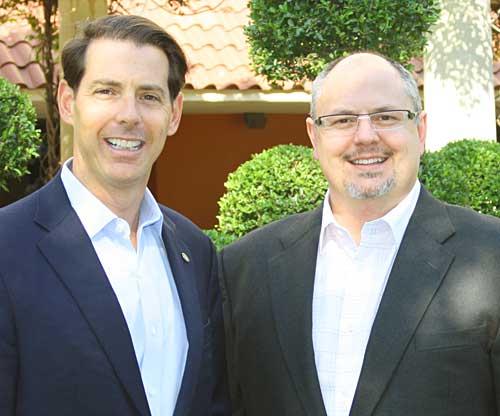 Joe Popolo of Freeman (left) and Bob Priest-Heck of Wheelhouse Solutions (right).